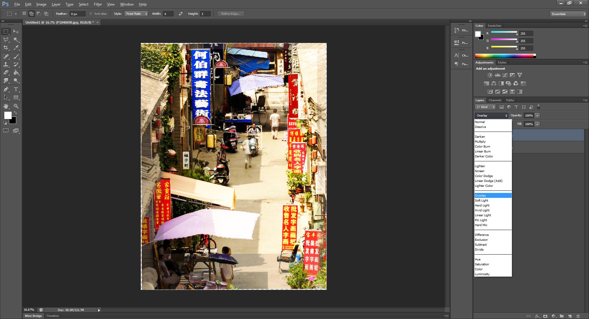 Using the overlay blend mode
