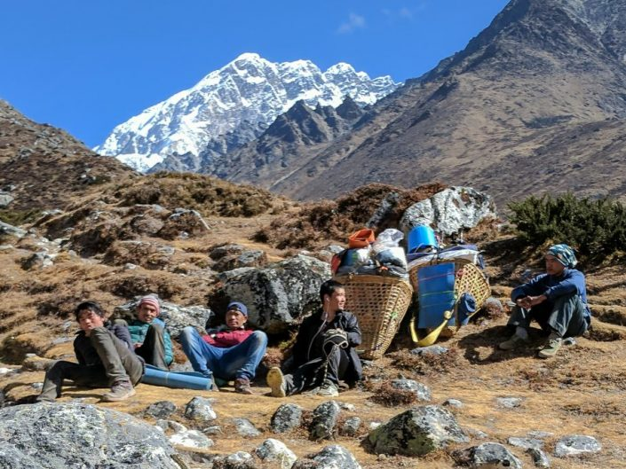 Everest Trek Porters Resting