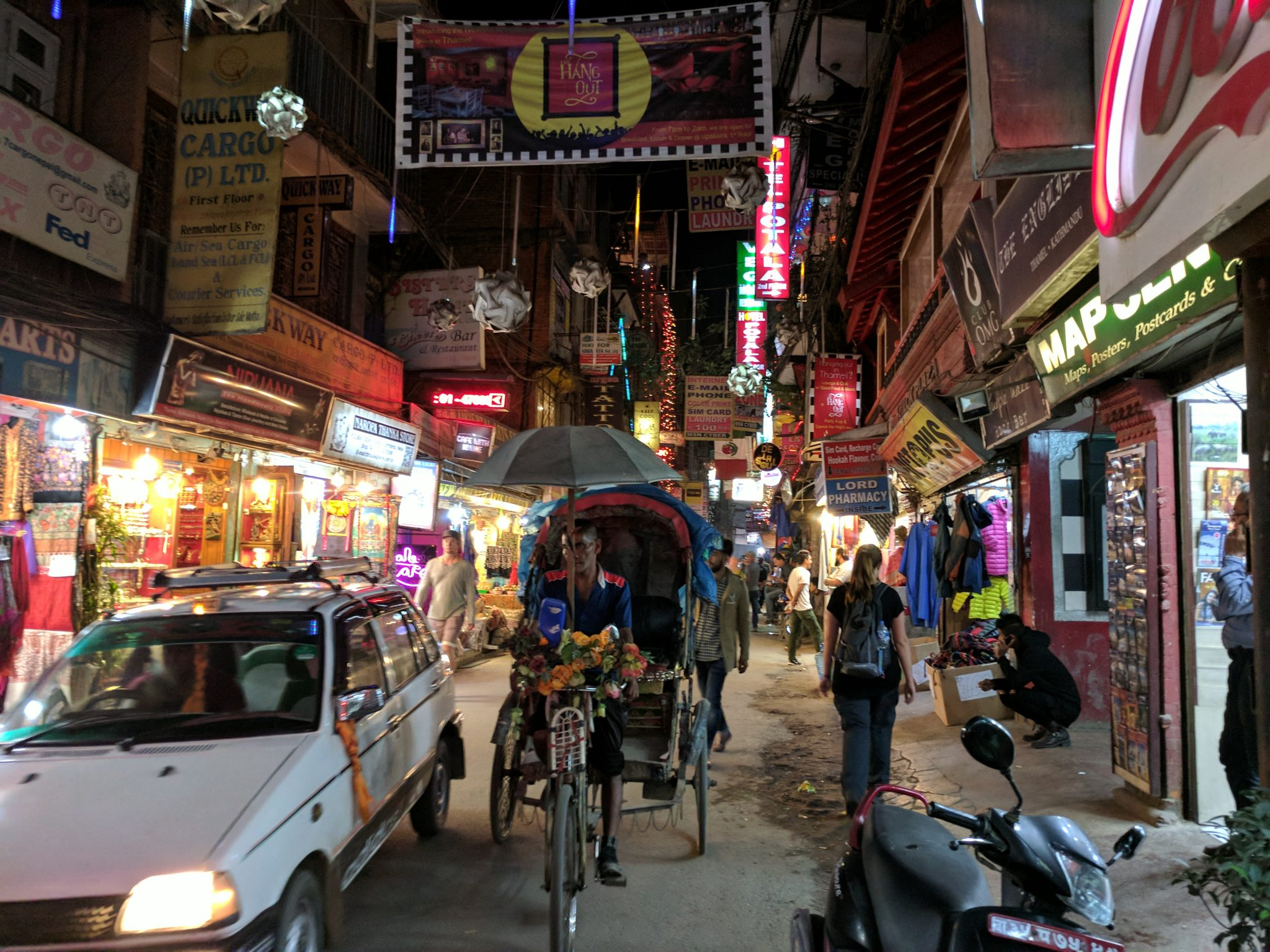 Street of the Thamel District in Kathmandu