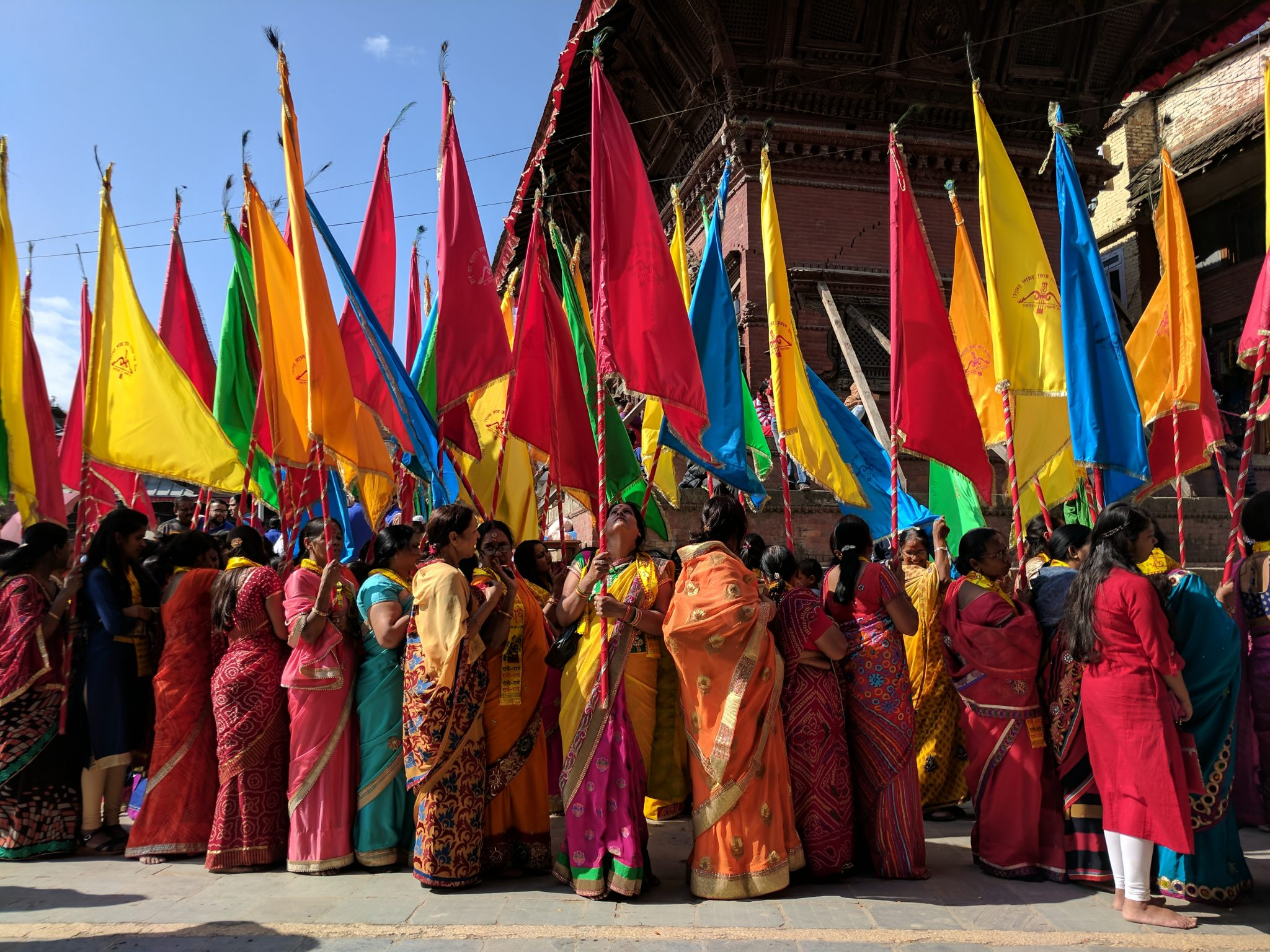 Women celebrating a festival in the Durbar Square, Kathmandu